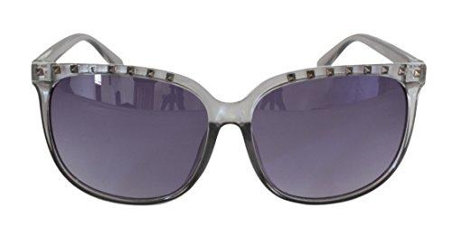 Foster Grant STU14348 FG118 Frauen Katze Stil Full-Frame-Sonnenbrille klar grau Kunststoff Rahmen & Arme schwarz UV400 Verlaufsgläser 100% UV-Schutz CAT 2