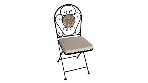 Eisenstuhl Gartenstuhl Stuhl für Balkon mit Blumen Mosaik und Sitzpolster