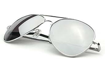 Case Square (TM ) Unisexe Lunettes de soleil Aviateur - Pilote - Fbi - Monture argent - Verre effet miroir UV400 100 Taille adulte% de protection