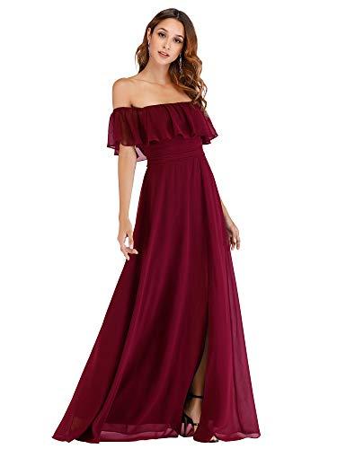 Ever-Pretty Damen A-Linie Abendkleid schulterfrei Dunkelrot 48