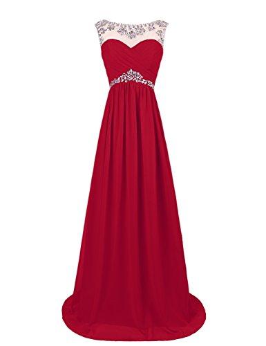 Dresstells, Robe longue de soirée Robe de cérémonie Robe de gala avec strass forme princesse col ras du cou sans manches Rouge Foncé