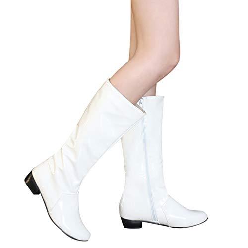 Tianwlio Frauen Herbst Winter Stiefel Schuhe Stiefeletten Boots Damen Mode Feste Lackleder Dicke Reißverschluss Stiefeletten Runde Zehe Schuhe Weiß 39