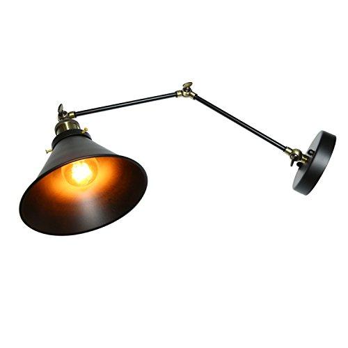 Lightsjoy Wandleuchte Vintage Retro Industrielle Wandlampe Metall Innenleuchte Verstellbare Wand Beleuchtung Rustikale Lampe Verstellbare Wandbeleuchtung für Schlafzimmer Wohnzimmer Bar küche Loft usw (Wand Swing-lampe)