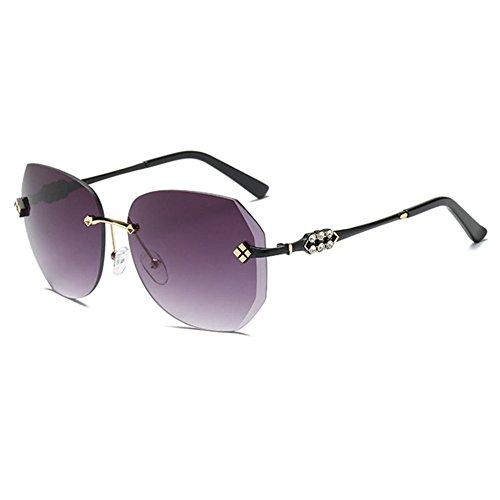 Aoligei Diamant-Schneide ohne Frame Lady Sonnenbrille Gradient Ozean Farbe großer Rahmen Sonnenbrillen Gläser