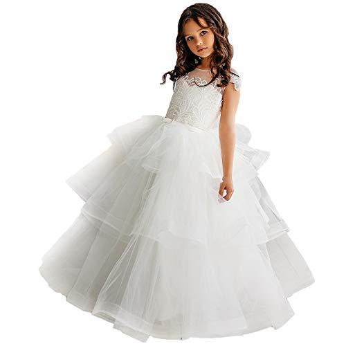 CQDY Blumenmädchen Spitzenkleider Hochzeit Brautjungfer Blumenmädchen Kleid Formale Party Pageant Prom Ballkleid Weihnachten Geburtstag Geschenke (6-7 Jahre, Elfenbeinweiß 1) Brautjungfer Prom Kleid