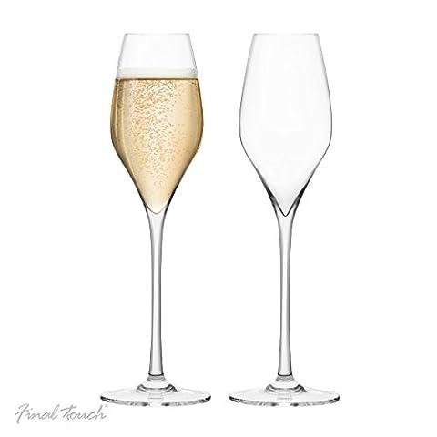 Final Touch 100% Lead-free Crystal Champagne Flutes Glasses Flutes à champagne Fabriqué avec du DuraSHIELD Titanium renforcé pour une durabilité accrue - Hauteur 27.8 cm 340ml - Coffret De 2 Flutes