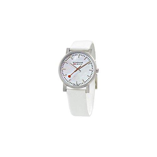 Reloj Mondaine Mujer Medio Evo Esfera nácar Solotempo correa blanco a658.30300.16sbc