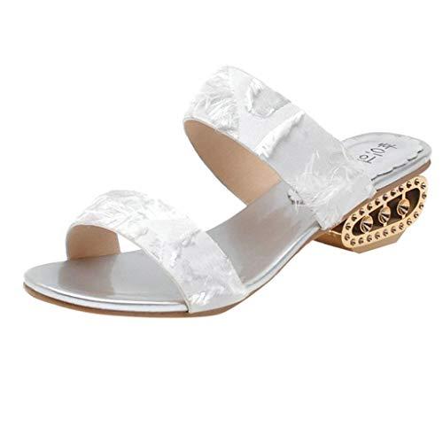 COZOCO Sommer Mode Wilde Sandalen Freizeit Frauen Mitte Ferse Sommer Flip Flop Atmungsaktive Slip-On Peep Toe Sandalen(Weiß,36 EU)