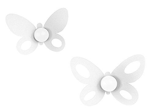 ARTI E MESTIERI - Set 2 pz Ganci Parete Appendiabiti Farfalla Butterfly Bianchi - 24x16H + 21x14H cm