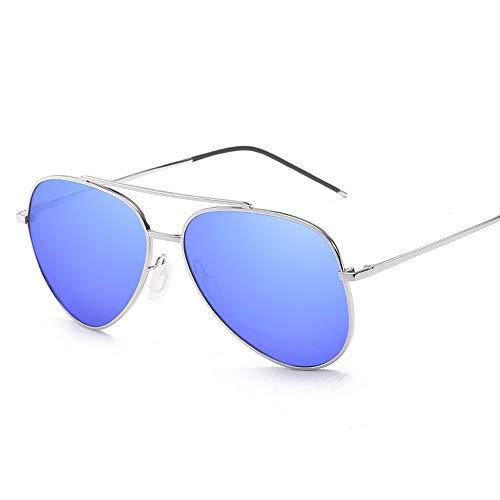 Sonnenbrillen Mode Big Metal Round Frame Pilot Rahmentyp Übergröße Fashion Classic Frog Mirror UV400 Objektiv Unisex polarisierte Sonnenbrille (Color : Blau, Size : Kostenlos)