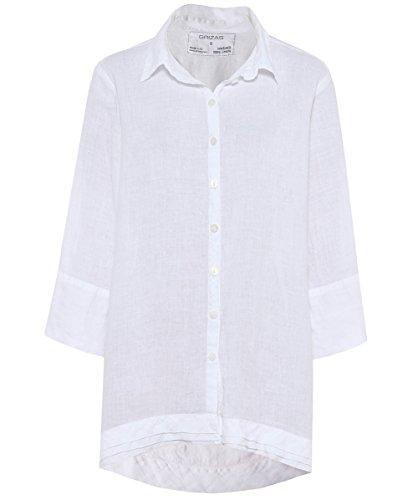 Grizas Femmes Chemise de Lin Cascade Surdimensionné Blanc Blanc