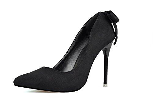 AalarDom Femme Stylet Pointu Tire Couleur Unie Chaussures Légeres Noir-Nœuds à Deux Boucles