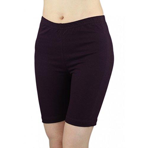 Lila Damen-shorts (Damen Radlerhose Sport Shorts Hotpants Baumwolle Kurze Leggings oberhalb des Knies , Farbe: Lila, Größe: 36-38)