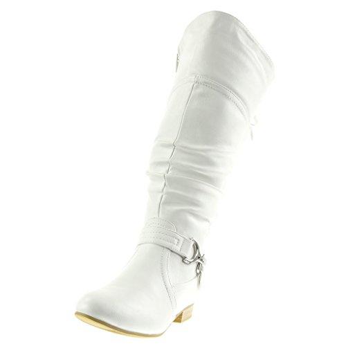 Angkorly - Scarpe Da Donna Stivali - Stivali Da Equitazione - Kavalier - Pizzo - String Perizoma - Fiocco Tacco 2 Cm Bianco