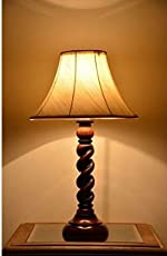 AADHYA CREATIONS Wooden Table Lamp Rope Style, 25.4x25.4x34.5cm (AC13WL010D, Cream)