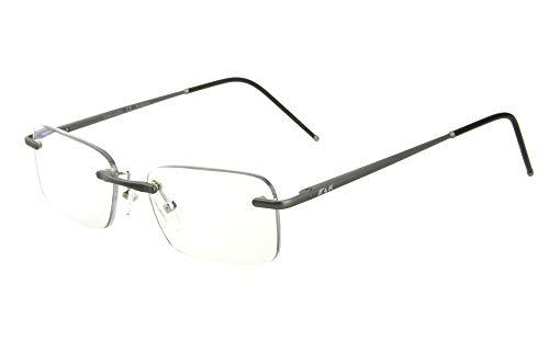 Edison & King Lesebrille Free randlose Brille aus Aluminium mit Federscharnieren - extra leicht (mit Entspiegelung und Etui, Anthrazit, 1,50 dpt)