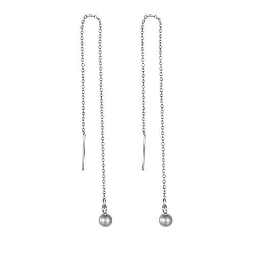 HOUSWEETY Boucles d'Oreilles Chaine Chainette Pendante Boule en Acier Inoxydable pour Femme et Fille acier