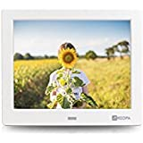 Arzopa 8 inch High Resolution Digital Photo Frame 1024x768 (4:3) Support MP3 MP4 Video Player Electronic Clock and Calendar Function with Remote Control (White)