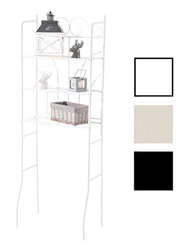 CLP estante PINAR con tres baldas, estante de hierro, aprox. 60 x 35 cm, altura: 165 cm, estilo rústico blanco