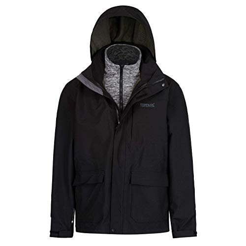 Regatta Herren Northton II 3 in 1 Waterproof and Breathable with Zip-Out Fleece Jacke, Schwarz, L