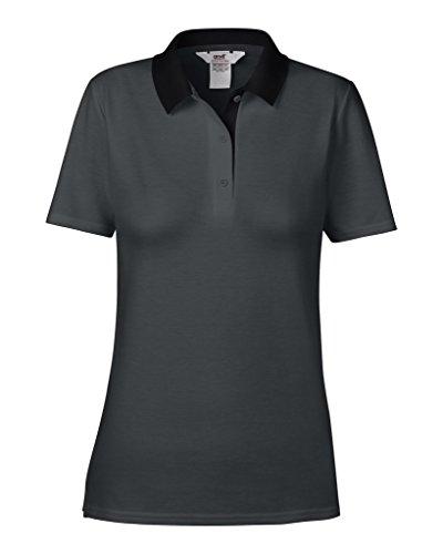 Anvil women ´ s double 6280L polo piqué Multicolore - Black/Charcoal