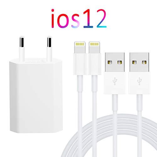 WUXIAN Ladeset mit Netzteil 1 Pack kompatibel und 2x1meter USB Ladekabel Datenkabel mit iPhone XR, XS, XS Max, X, 8, 8 Plus, 7, 6, 5, SE/iPad 4, Pro, Mini - Weiß -