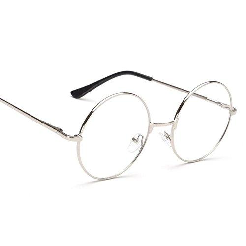 Wuudi retro occhiali frame, retro fashion circle occhiali frame occhiali unisex occhiali telaio in metallo per flat light silver