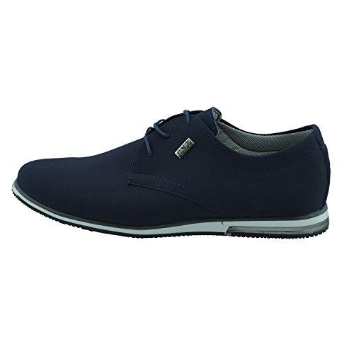 Chaussures de sODERBERGH baskets pour homme chaussures à lacets en optique de velours bleu ou noir Bleu - Bleu