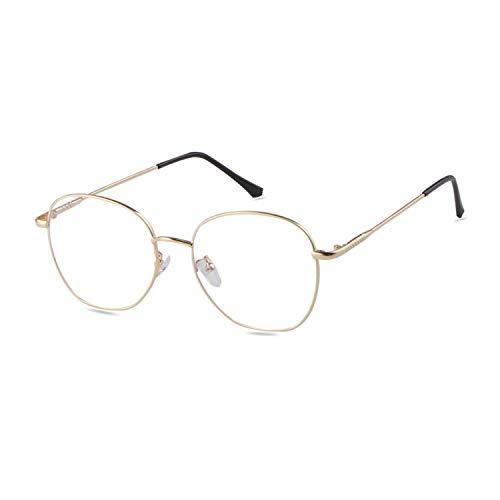 ADEWU ADEWU Retro Nerdbrille Klassisches Rund Rahmen Blue Light Blocking Glasses Damen Herren (Anti Blaulicht-Gold)
