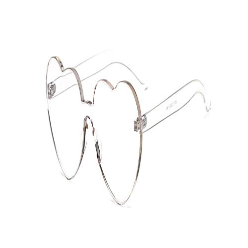 Vikimen Sportbrillen, Angeln Golfbrille,Rimless Clear Lens Sunglasses Women NEW Brand Designer Heart Shaped Sun Glasses For Lady Oversized Frame Female New C8