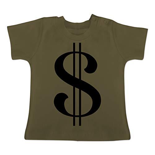 Karneval und Fasching Baby - Dollar Kostüm - 3-6 Monate - Olivgrün - BZ02 - Baby T-Shirt ()