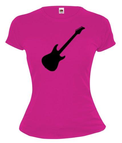 buXsbaum® Girlie T-Shirt E-Gitarre Fuchsia-Black