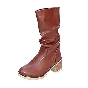 web barata: LuckyGirls Botas Las Mujeres Botines Retro Zapatos de Tacón de Tacón Cuadrado 5c...