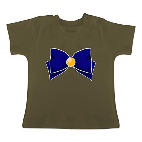 Karneval und Fasching Baby - Superheld Manga Venus Kostüm - 1-3 Monate - Olivgrün - BZ02 - Baby T-Shirt Kurzarm