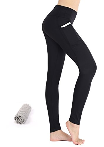 Munvot Schön Galaxy Printed Sport Leggings Damen Blickdichte Leggins Training Tights Hohe Taille Strumpfhose Bunt Leggins für damen mit Tasche, Klassisches Schwarz, Gr. L