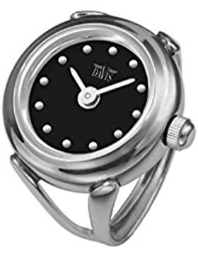 Davis - Ring Watch 4189SW – Ringuhr Damen - Ziffernblatt Schwarz mit index - Verstellbar