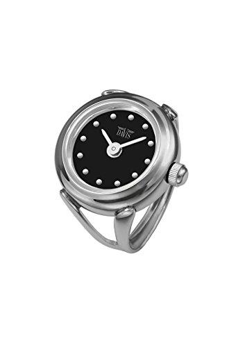 Davis - Ring Watch 4189SW - Ringuhr Damen - Ziffernblatt Schwarz mit index - Verstellbar