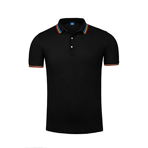VB Frauen Logo Shirt aus reiner Baumwolle mit kurzen Ärmeln Revers Taste Benutzerdefinierte Gruppen, Schwarz, S (Benutzerdefinierte Farbe-schwarz T-shirt)