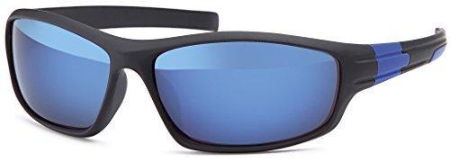 Balinco Sportbrille Fahrradbrille Laufbrille Laufen Angeln Golf Sport Brille Skibrille Ski Fahren Sonnenbrille für Herren und Damen Outdoor (Black-Blue Mirror)