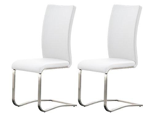 möbelando Schwingstuhl Stuhl Schwinger Esszimmerstuhl Freischwinger Muvo I (2er Set) (Weiß)