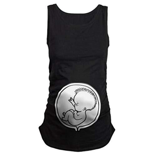 Lonshell Mutterschafts Tank Top Locker Umstands-Top Lustige Witzig Spähen Baby Umstandsmode Weste Bluse Schwangerschaft Sommer Oberteile Umstandsshirt Unterhemd