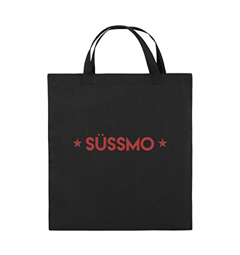 Comedy Bags - SÜSSMO - Jutebeutel - kurze Henkel - 38x42cm - Farbe: Schwarz / Silber Schwarz / Rot