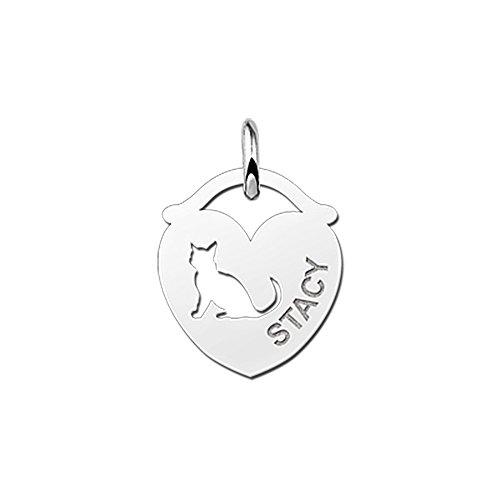 Namesforever Gourmetkette mit Anhänger in Herzform mit ausgestanztem Motiv Katze und gravierten Namen Ihrer Wahl aus Silber