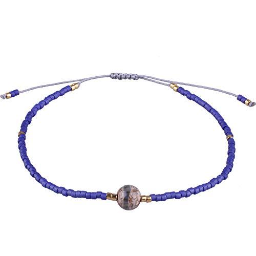 KELITCH Damen Armbänder für Frauen Herren Japanische Import Perle Schön Achat Geflochtene Freundschaft Charme Armband Handgemachte Verstellbare Seil Armreif (Dunkelblau)