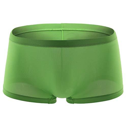 LANWINY Herren Sexy Unterwäsche Transparent Durchsichtig Shorts Hot Lip Print Unterhose Briefslip breiter Gummibund Boxer Brief Retroshorts -
