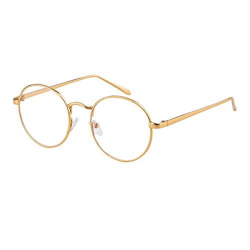 ADEWU Retro Nerdbrille Klassisches Rund Rahmen Glasses Damen Herren (Gold #1)