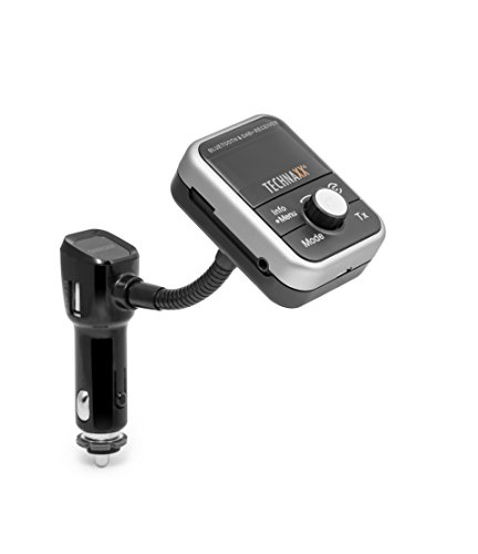 Technaxx 4650 FMT1000BT DAB+ Transmitter, Portabler DAB und FM Bluetooth mit Freisprech-/Ladefunktion, Radio, MP3-Player und Tragbar grau/schwarz