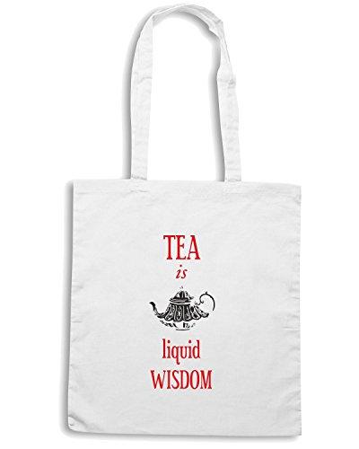T-Shirtshock - Borsa Shopping CIT0210 tea is a liquid wisdom Bianco