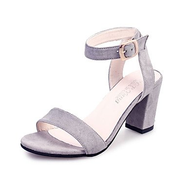 LvYuan Damen-Sandalen-Lässig-Samt-Blockabsatz-Komfort-Schwarz Rot Grau gray