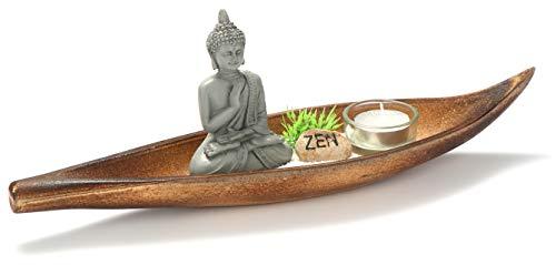 com-four® 6-teiliges Kerzen Set Zen als Dekoration - mit Teelicht, Buddha Figur, Teelicht-Schale, Deko-Steinen und Deko-Grün